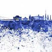 Bratislava Skyline In Blue Watercolor On White Background Poster
