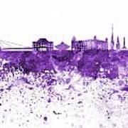 Bratislava Skyline In Purple Watercolor On White Background Poster