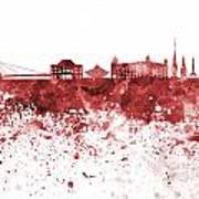 Bratislava Skyline In Red Watercolor On White Background Poster