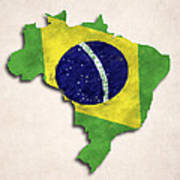 Brazil Map Art With Flag Design Poster