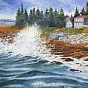 Breakers At Pemaquid Poster