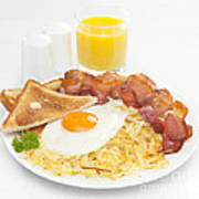 Breakfast Hash Browns Bacon Fried Egg Toast Orange Juice Poster by Colin and Linda McKie