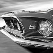 Breaking The Sound Barrier - Mach 1 428 Cobra Jet Mustang In Black And White Poster
