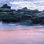 Breakwater Rocks At Sunset Beach Cape May Poster