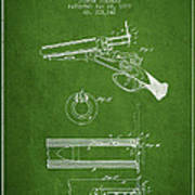 Breech Loading Shotgun Patent Drawing From 1879 - Green Poster
