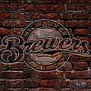 Brewers Baseball Graffiti On Brick  Poster