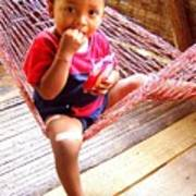 Bribri Indian Child In A Hammock Poster