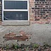 Brick Broken Plaster And Window Poster