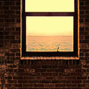 Brick Window Sea View Poster