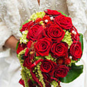 Bridal Bouquet With Red Roses Poster