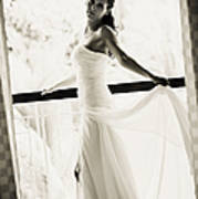 Bride At The Balcony. Black And White Poster