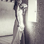 Bride At The Window. Black And White Poster