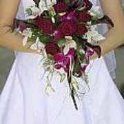 Brides Bouquet And Wedding Dress Poster