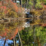 Bridge Over Fall Waters Poster