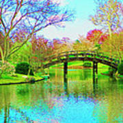 Bridge Over Lake In Spring Poster