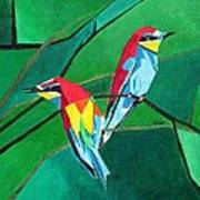 Brighly Colored European Bee-eaters Poster
