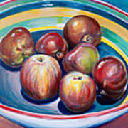 Red Apples In Striped Bowl Poster