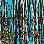 Bright Blue And Birch Poster