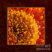 Bright Budding And Golden Abstract Flower Painting Poster