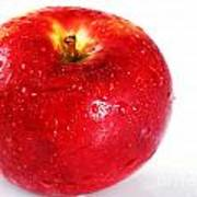 Bright Red Apple With Water Drops Poster