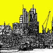 Dark Ink With Bright Yellow London Skies Poster