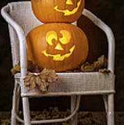 Brightly Lit Jack O Lanterns Poster