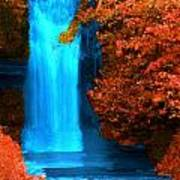 Brilliant Waterfall In Autumn Poster
