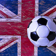 British Flag And Soccer Ball Poster