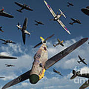 British Supermarine Spitfires Attacking Poster