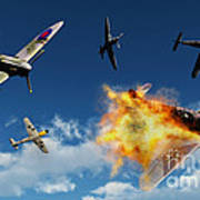 British Supermarine Spitfires Battle Poster