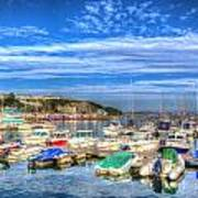 Brixham Marina Devon England Uk On Calm Summer Day With Blue Sky Poster