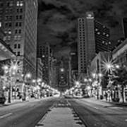 Broad Street At Night In Black And White Poster