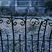 Broken Iron Fence By Old House Poster