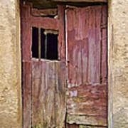 Broken Red Wood Door Poster