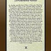 Bronze Frame Original Desiderata Poster Poster