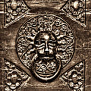 Bronze Lion Head And Ring On The Main Door Of The Town Hall In Dubrovnik Sepia Poster