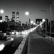 Brooklyn Bridge And Manhattan Skyline At Dusk 1980s Poster