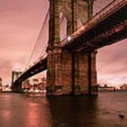 Brooklyn Bridge - Red Morning Poster