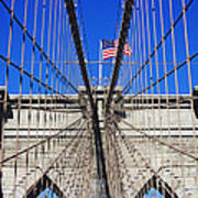 Brooklyn Bridge With American Flag Poster