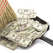 Broom Sweeping Up American Currency Poster