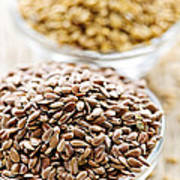 Brown And Golden Flax Seed Poster