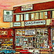 Brown Derby Van Horne Shopping Center Clay's Pharmacy Montreal Paintings City Scenes Carole Spandau Poster