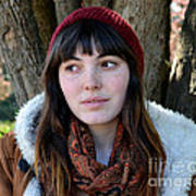 Brown Haired And Freckle Faced Natural Beauty Model  Xvii  Poster