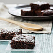 Brownies With A Wood Spoon Kitchen Art Poster