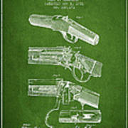 Browning Rifle Patent Drawing From 1921 - Green Poster