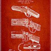 Browning Rifle Patent Drawing From 1921 - Red Poster