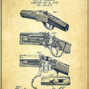 Browning Rifle Patent Drawing From 1921 - Vintage Poster