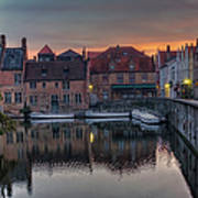 Bruges Canal Dawn Poster