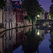 Bruges Canal Near Blind Donkey Alley  Poster