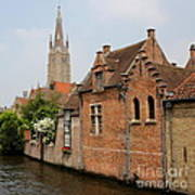 Bruges Houses With Bell Tower Poster by Carol Groenen